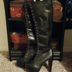 Shoes - Lace up Black Heeled Boots